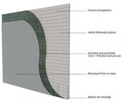 Pared exterior portante Concrehaus Neo 80mm con Promex E proyectado y revoque al yeso