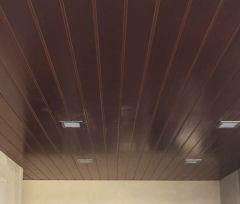 Cielorraso solera-montante cada 400mm con PVC Cielofacil ECOPVC caoba