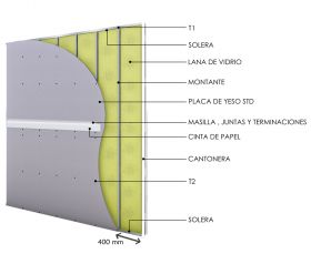 Pared interior no portante soleras-montantes cada 400mm con placas de yeso STD - placas de yeso STD y aislacion