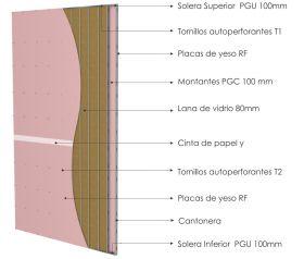 Pared interior no portante gran altura PGU-PGC 100mm con placas de yeso RF - placas de yeso RF y aislacion