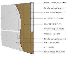 Pared interior no portante gran altura PGU-PGC 70mm con doble placas de yeso STD - doble placas de yeso STD y aislacion
