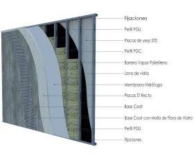 Pared exterior no portante steelframing PGU-PGC 70mm con placas de yeso STD - Superboard 8mm revestida en base coat y malla