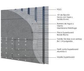 Revestimiento de fachada exterior steelframing PGO con placas Superboard 8mm junta U aluminio