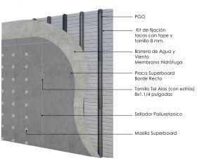 Revestimiento de fachada exterior steelframing PGO con placas Superboard 8mm junta vista