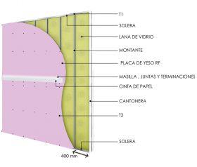 Pared interior no portante soleras-montantes cada 400mm con placas de yeso RF - placas de yeso RF y aislacion