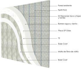 Revestimiento de fachada exterior steelframing PGO con placas Superboard 8mm revestida en base coat y malla