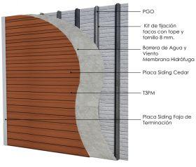 Revestimiento de fachada exterior steelframing PGO con placas Superboard siding 8mm