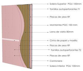 Pared interior no portante gran altura PGU-PGC 70mm con doble placas de yeso RF - doble placas de yeso RF y aislacion