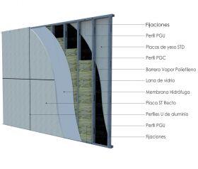 Pared exterior no portante steelframing PGU-PGC 70mm con placas de yeso STD - Superboard 8mm junta U aluminio