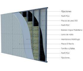 Pared exterior no portante steelframing PGU-PGC 70mm con placas de yeso STD - Superboard 8mm junta vista