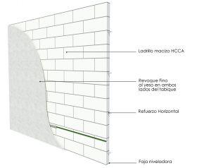 Pared interior no portante ladrillos HCCA 100mm con revoque al yeso