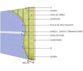 Pared interior no portante soleras-montantes cada 400mm con placas de yeso Diamant - placas de yeso Diamant y aislacion