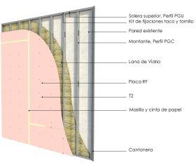 Revestimiento interior soleras-montantes cada 400mm con placas de yeso RF y aislacion