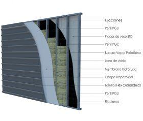 Pared exterior no portante steelframing PGU-PGC 70mm con placas de yeso STD - chapa color vista