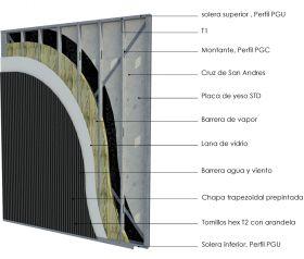 Pared exterior portante steelframing PGU-PGC 100mm con placas de yeso STD - chapa color vista