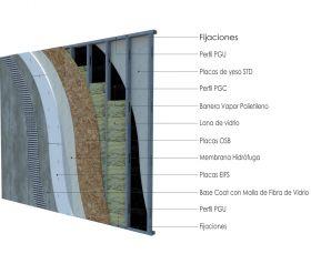 Pared exterior no portante steelframing PGU-PGC 70mm con placas de yeso STD - OSB y EIFS