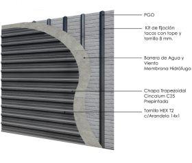Revestimiento de fachada exterior steelframing PGO con chapa color vista