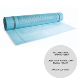 Malla refuerzo revestimiento sistema EIFS fibra vidrio exterior azul rollo 160g/m² x 1000mm x 50m