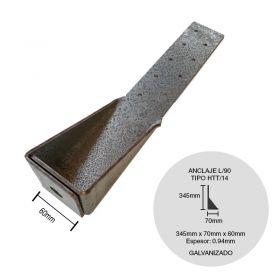 Anclaje steel framing galvanizado S/HTT 14 l90° 60mm x 70mm x 345m