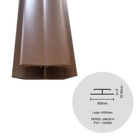 Perfil cielorraso ecoPVC H union caoba 6000mm