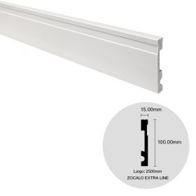 Zocalo EPS Extra Line blanco simil madera 15mm x 100mm x 2500mm