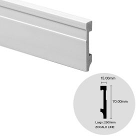 Zocalo EPS Line blanco simil madera 15mm x 70mm x 2500mm