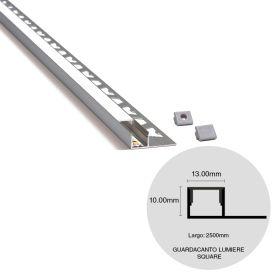 Varilla guardacanto pared aluminio lumiere quadra led simple oro mate 10mm x 13mm x 2500mm