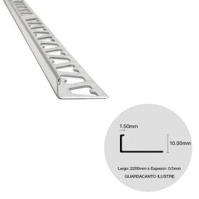 Varilla guardacanto pared acero inoxidable ilustre brillante 0.5mm x 1.5mm x 10mm x 2200mm