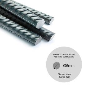 Barra hierro construccion aletado ø6mm x 12m