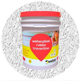 Revestimiento plastico texturado Weberplast RTF fino blanco balde x 30kg
