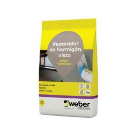 Mortero reparacion hormigon visto capa fina Weber Hormivisto gris bolsa x 8kg