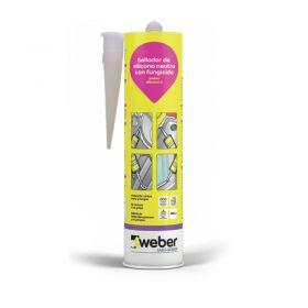 Sellador Weber Silicona C neutra fungicida interior/exterior blanco cartucho x 300ml