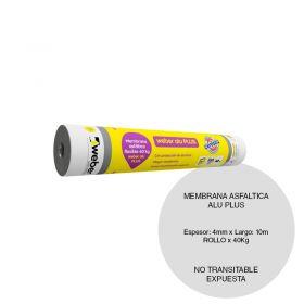 Membrana asfaltica Weber ALU Plus flexible no transitable expuesta techos/techos chapa 40kg x 1000mm x 10m rollo x 10m²