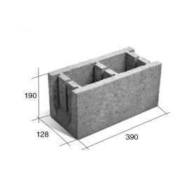 Bloque U13 encadenado/dintel hormigon gris 128mm x 190mm x 390mm