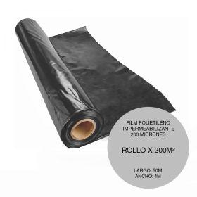 Film polietileno impermeabilizante negro 4m x 50m rollo x 200m²