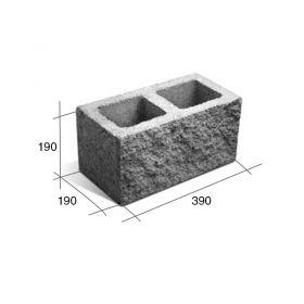 Bloque SP20 portante hormigon simil piedra gris 190mm x 190mm x 390mm