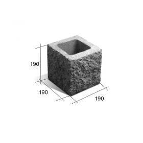 Bloque SP20/M mitad hormigon simil piedra gris 190mm x 190mm x 190mm