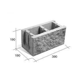 Bloque SP20/U/FD encadenado/dintel hormigon u simil piedra frente debilitado gris 190mm x 190mm x 390mm