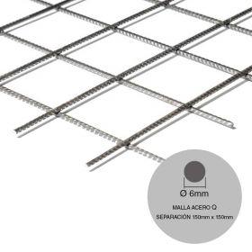 Malla acero Q158-188-160 mini ø6mm separacion 150mm x 150mm medidas 2000mm x 3000mm x 6m²