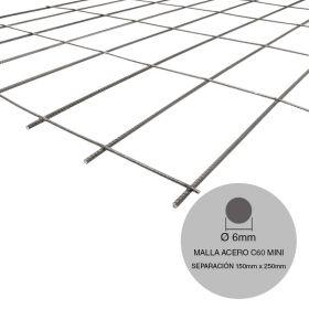 Malla acero C60 mini ø6mm separacion 150mm x 250mm medidas 2000mm x 3000mm x 6m²
