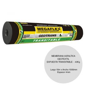 Membrana asfaltica geotextil Geotrans expuesta transitable 40kg x 1000mm x 10m rollo x 10m²