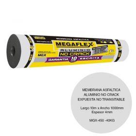 Membrana asfaltica aluminio no crack MGX-450 expuesta no transitable 40kg x 4mm x 1000mm x 10m rollo x 10m²