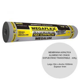 Membrana asfaltica aluminio Megalum no crack expuesta no transitable 40kg x 4mm x 1000mm x 10m rollo x 10m²