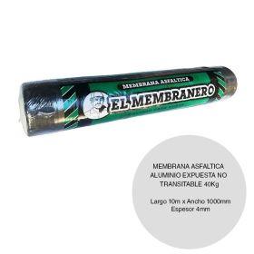 Membrana asfaltica aluminio membranero expuesta no transitable 40kg x 4mm x 1000mm x 10m rollo x 10m²
